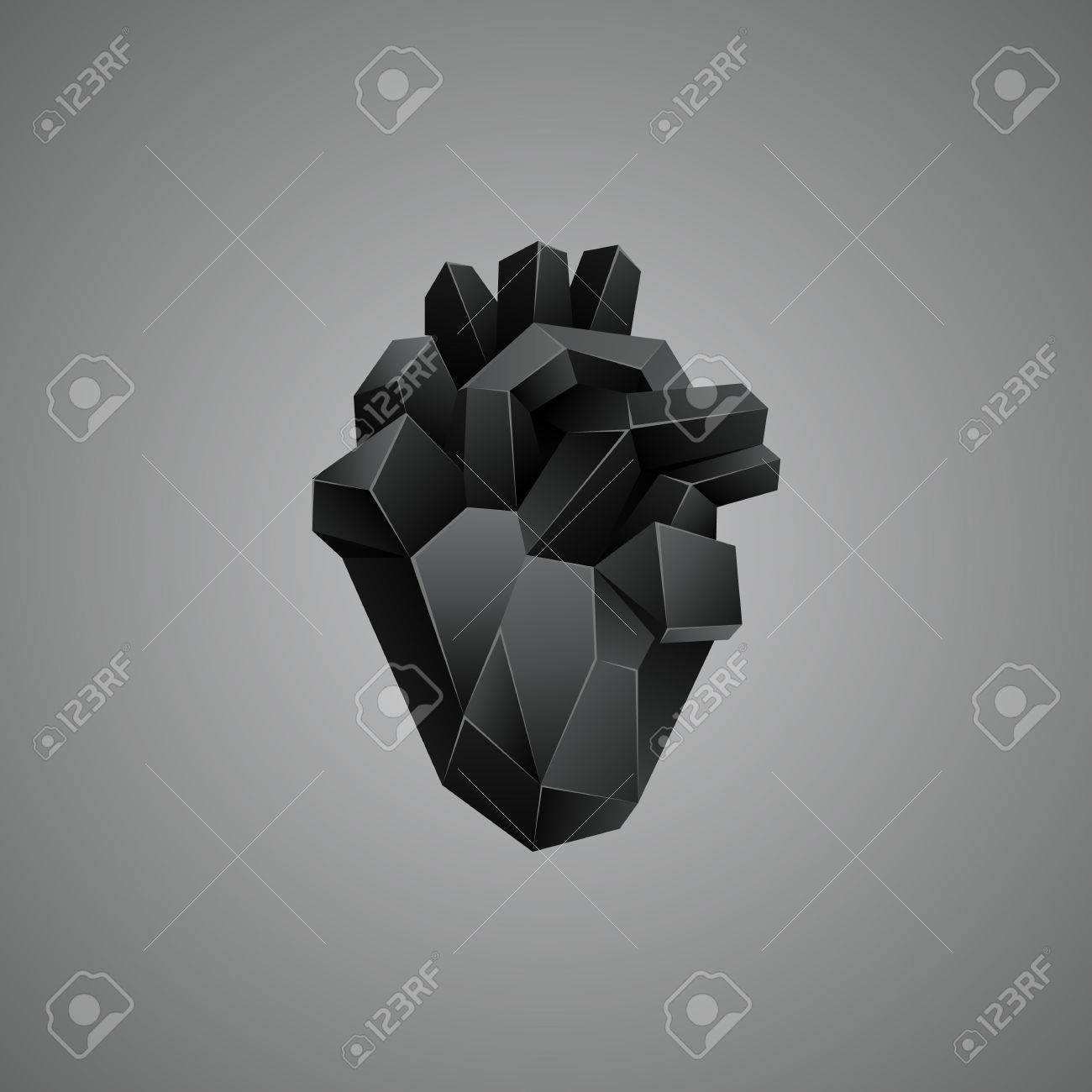 Negro Corazón Humano Poli Baja Sobre Un Fondo Gris. órgano Anatomía ...