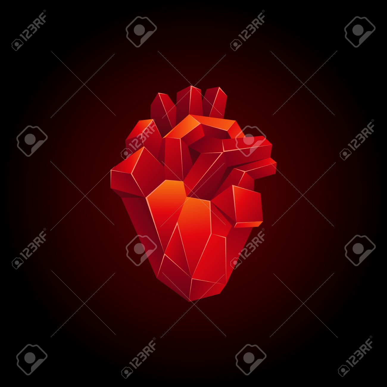 Red Low Poly Human Heart On A Black Background. Abstract Anatomy ...