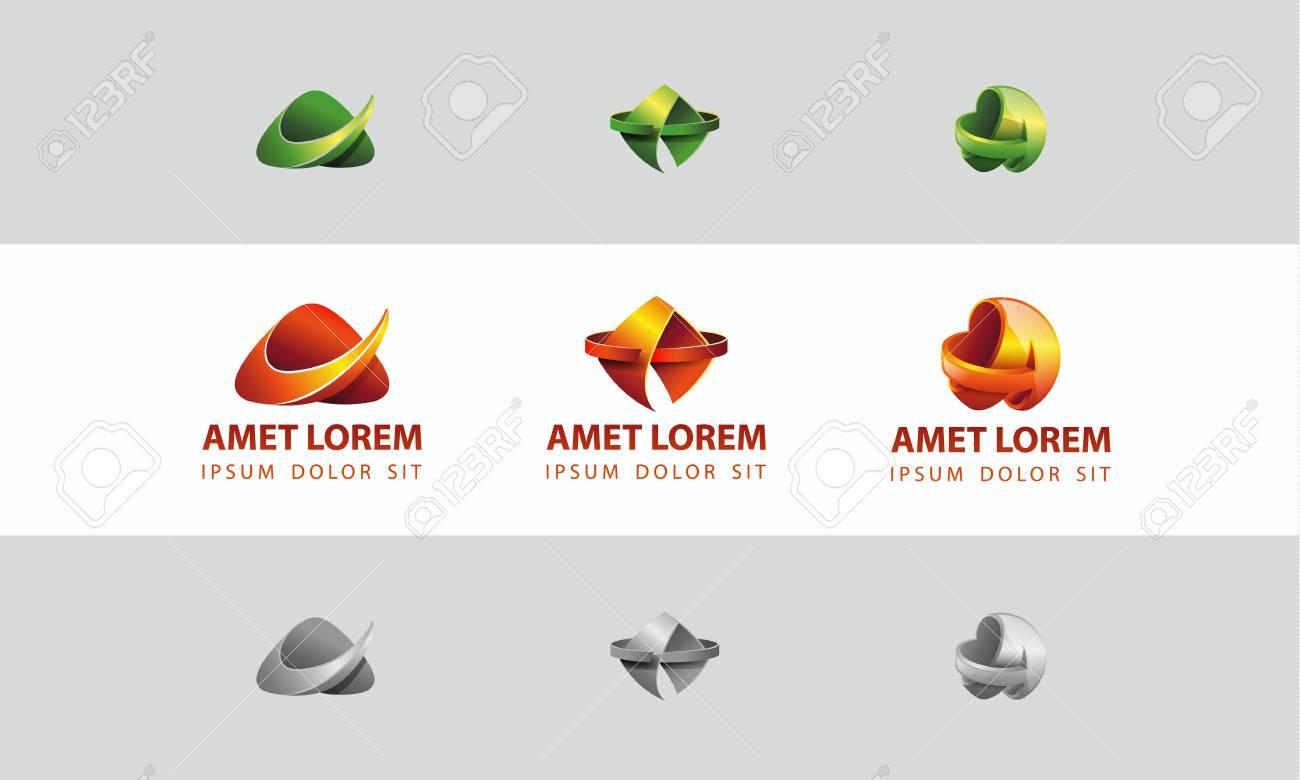 Conjunto De Plantillas De Logotipo Abstracto A Simbolo De La