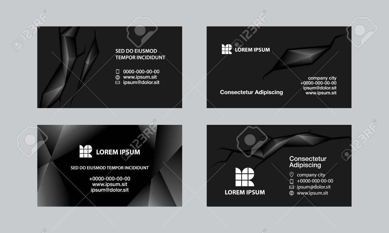 Jeu De Cartes Visite Noir Arriere Plan Abstrait Style Polygonal