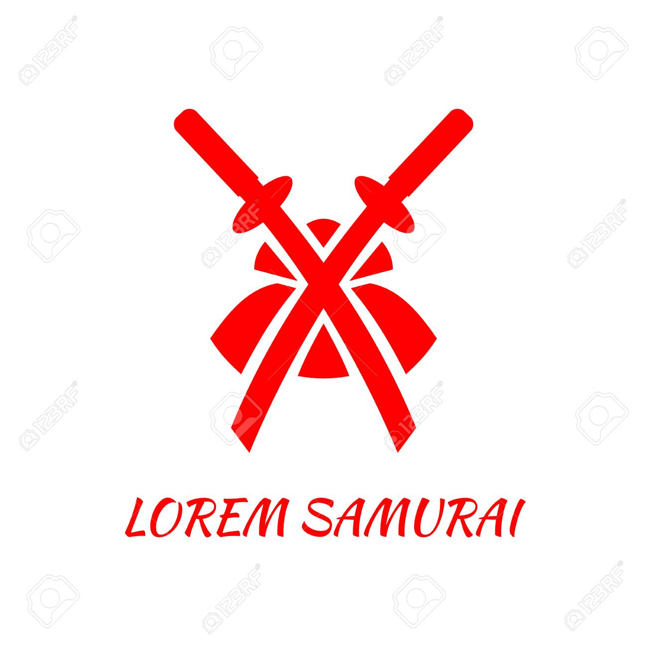 two crossed swords and a samurai helmet red abstract logo template