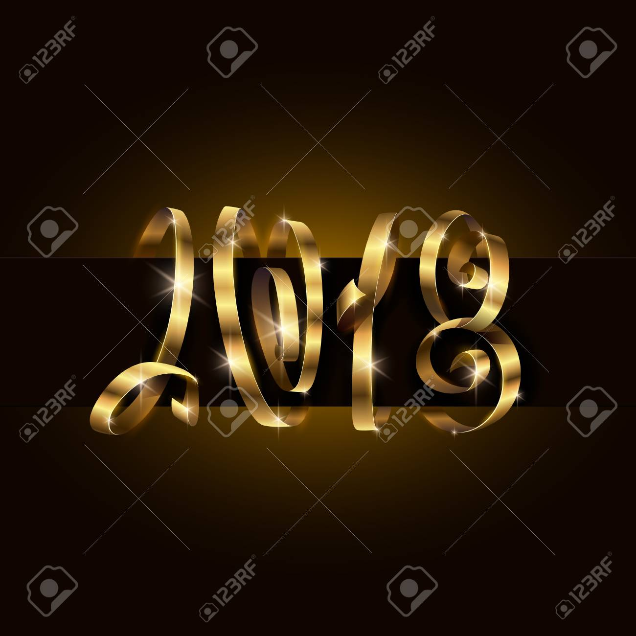 vector vector 2018 new year background 2018 lettering typography using golden gift ribbon or serpentine curls happy new year illustration for calendar