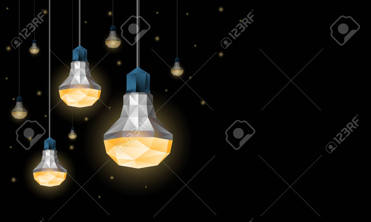 Polygonal LED Light Bulbs Hanging From The Ceiling. Lighting ...