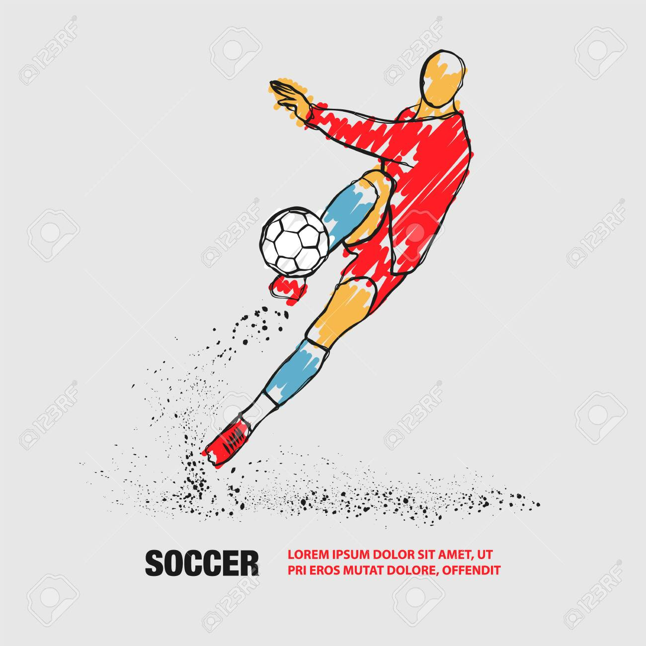 Soccer player hits the ball. Front view. Vector outline of soccer player with scribble doodles. - 130792537