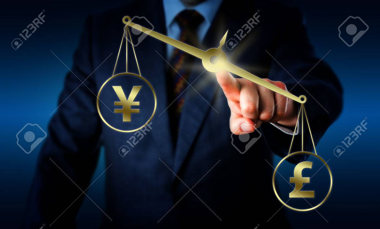 British pound sterling sign is outweighing the chinese yuan currency british pound sterling sign is outweighing the chinese yuan currency symbol on a golden balance operated biocorpaavc Gallery