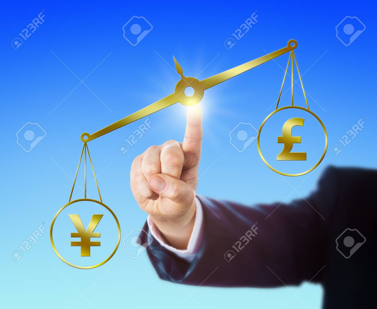 Japanese Yen Symbol Outweighing The British Pound Sterling Sign
