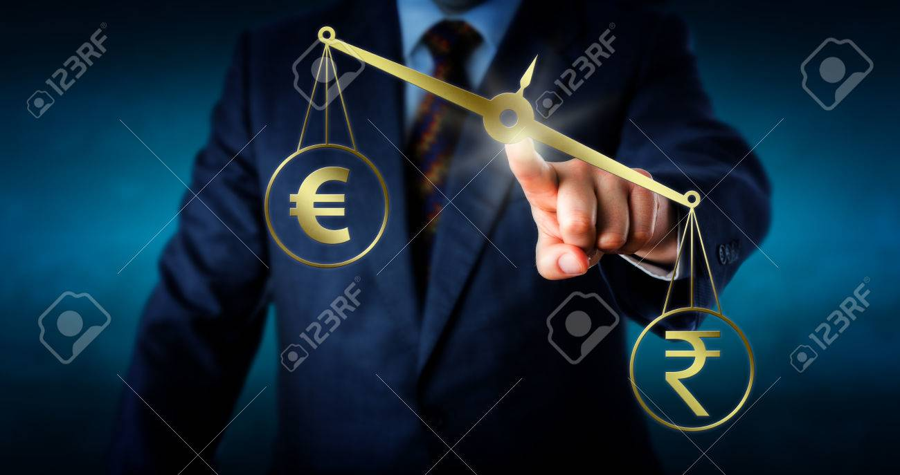 Indian rupee symbol is outbalancing the european union currency indian rupee symbol is outbalancing the european union currency sign on a golden pair of scales biocorpaavc Choice Image
