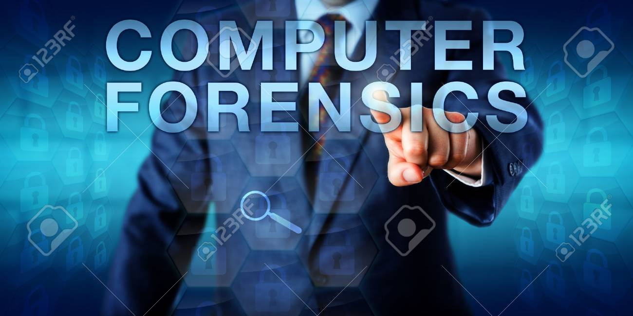Forensic Expert Is Pressing Computer Forensics Onscreen A Virtual Stock Photo Picture And Royalty Free Image Image 53288570