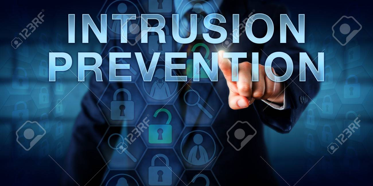network administrator is pressing intrusion prevention on a touch screen interface information technology and security