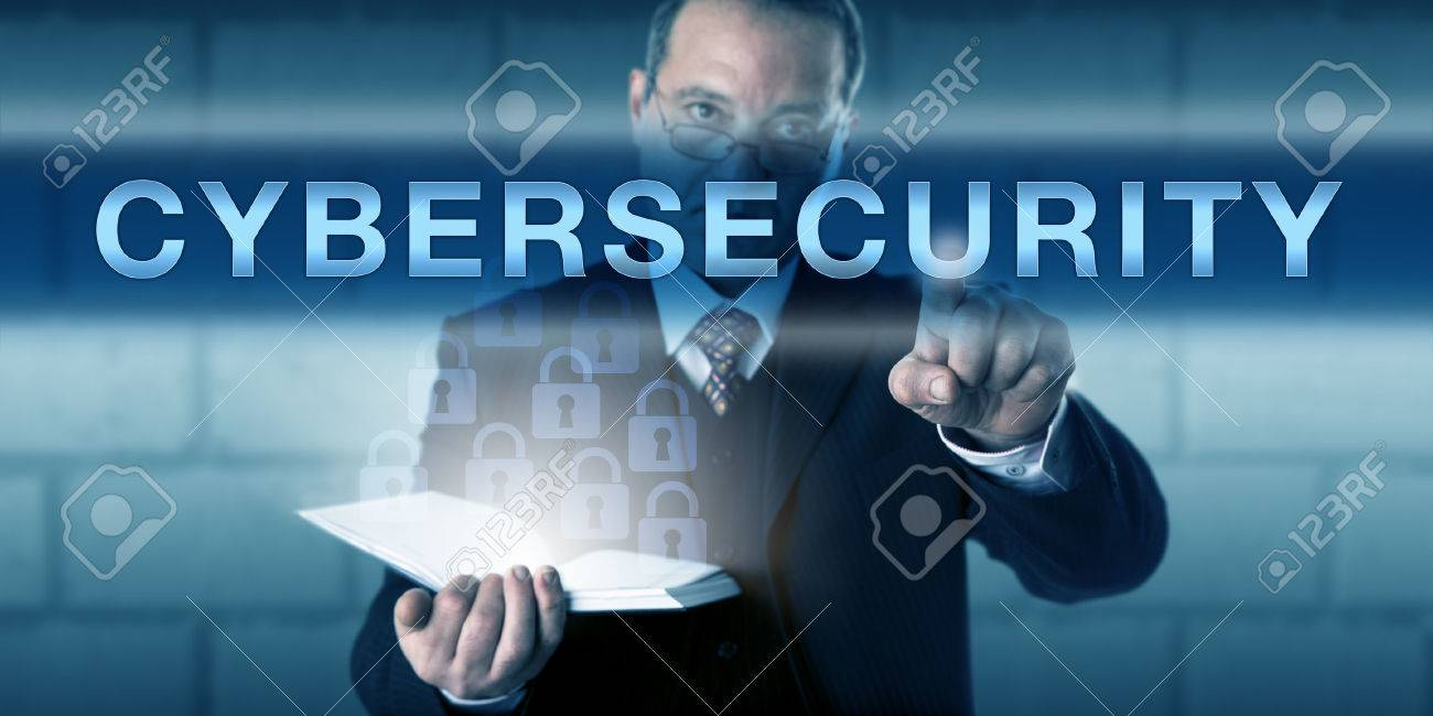 Chief Information Security Officer Touching CYBERSECURITY On A Visual  Screen. Business Process Metaphor And Information