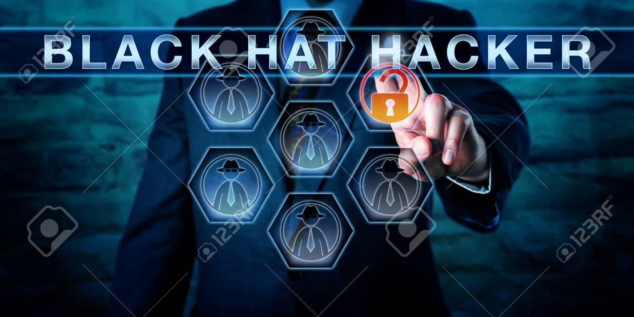 Businessman pushing BLACK HAT HACKER on an interactive virtual