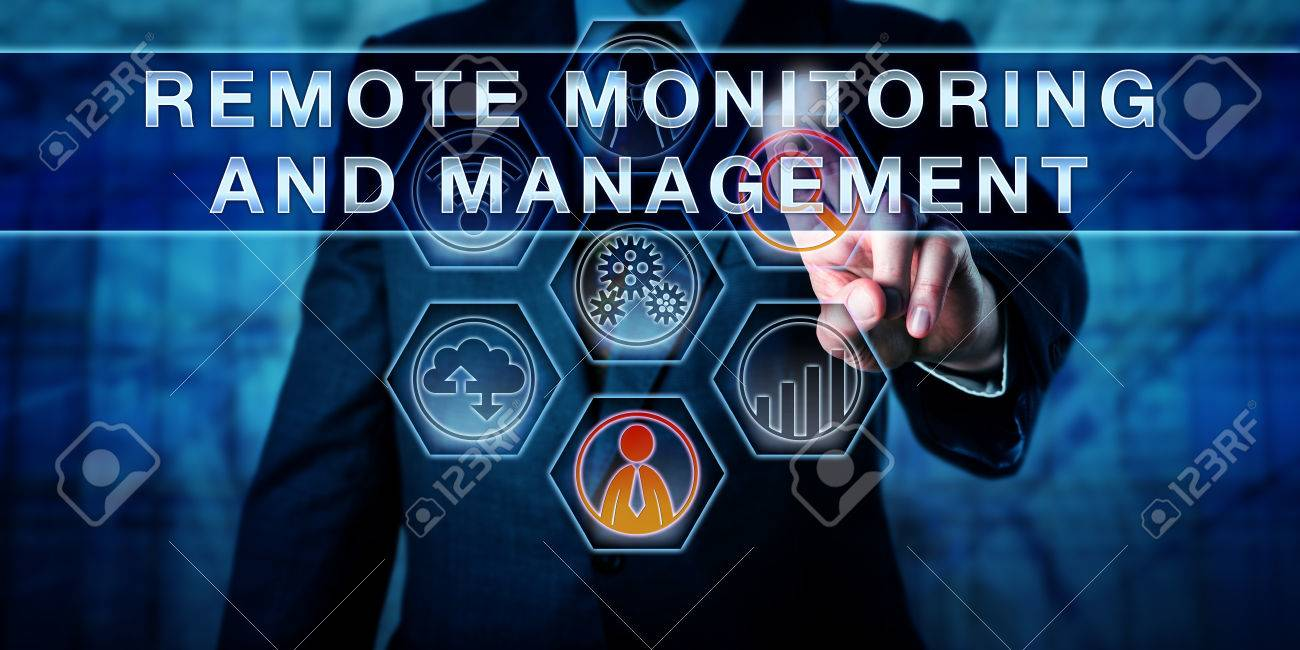 Male corporate business administrator in blue is pushing REMOTE MONITORING AND MANAGEMENT on an interactive control screen. Remote administration software concept. Industry term abbreviated as RMM. - 60776691