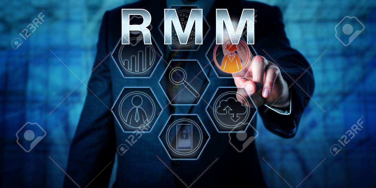 Torso of male business manager is pressing RMM on an interactive virtual control monitor. Business administration metaphor and information technology concept for Remote Monitoring and Management. - 60776800