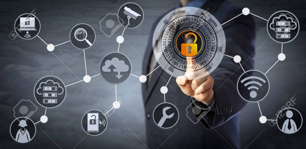 Blue chip manager is unlocking a virtual locking mechanism to access shared cloud resources. Internet concept for identity & access management, cloud storage, cybersecurity and managed services. - 81121589