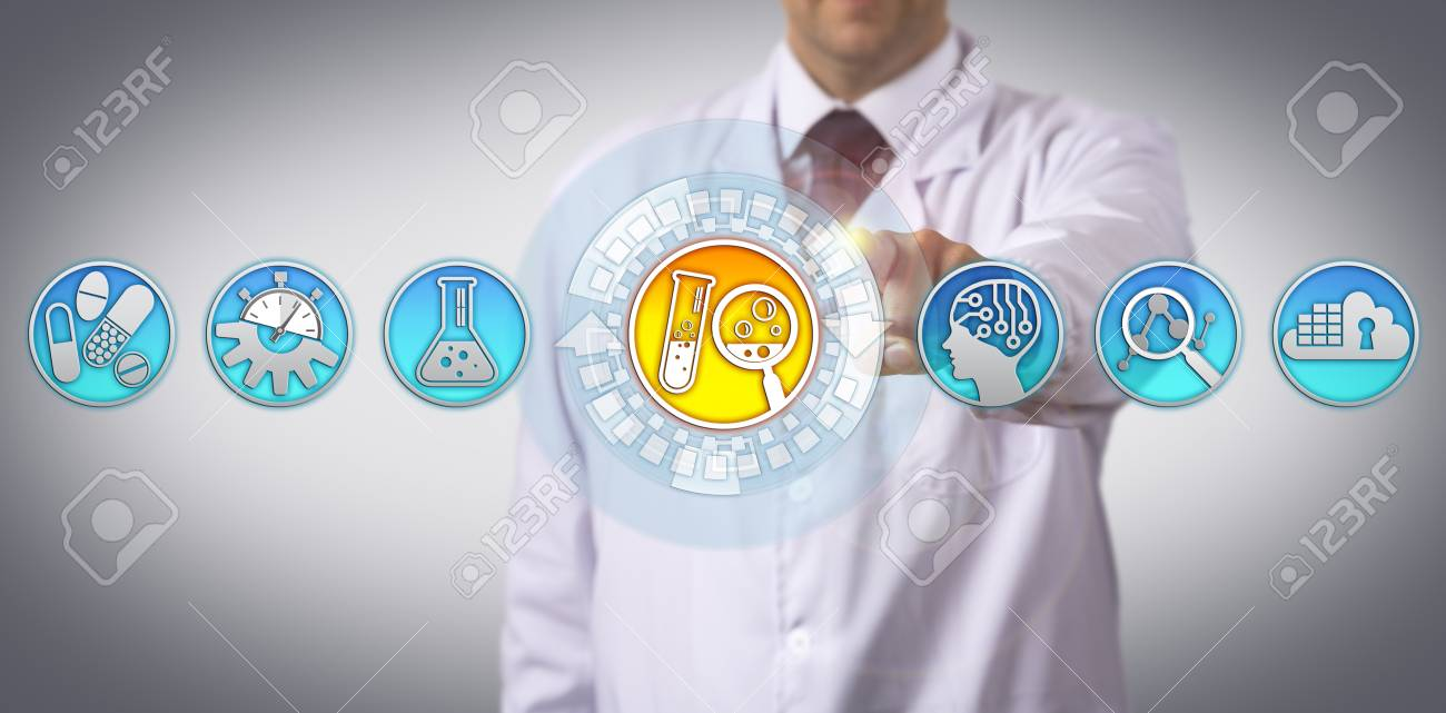 Unrecognizable industrial scientist is initiating the drug discovery process via touch screen interface. Pharmaceutical industry concept for research and development aided by artificial intelligence. - 97060879