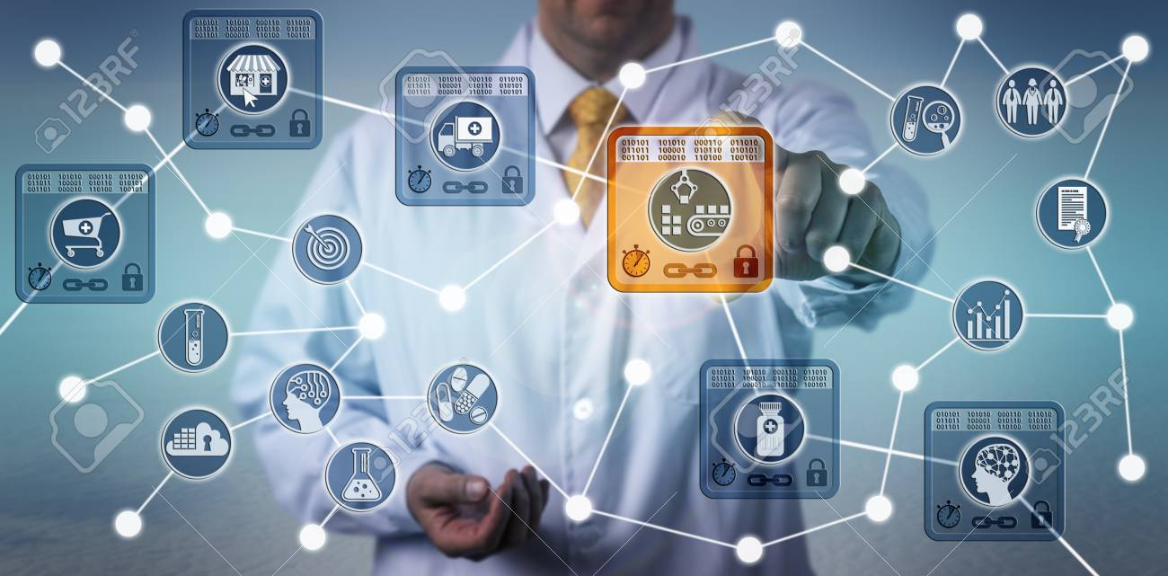 Unrecognizable pharmaceutical logistician using internet of things solution based on blockchain technology to secure data integrity of drug supply chain. - 104963557