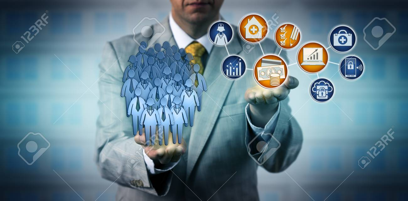 Unrecognizable healthcare manager projecting profitability of performance based payment model. Health care concept for capitation for a patient population, value-based reimbursement, bundled payment. - 105223625