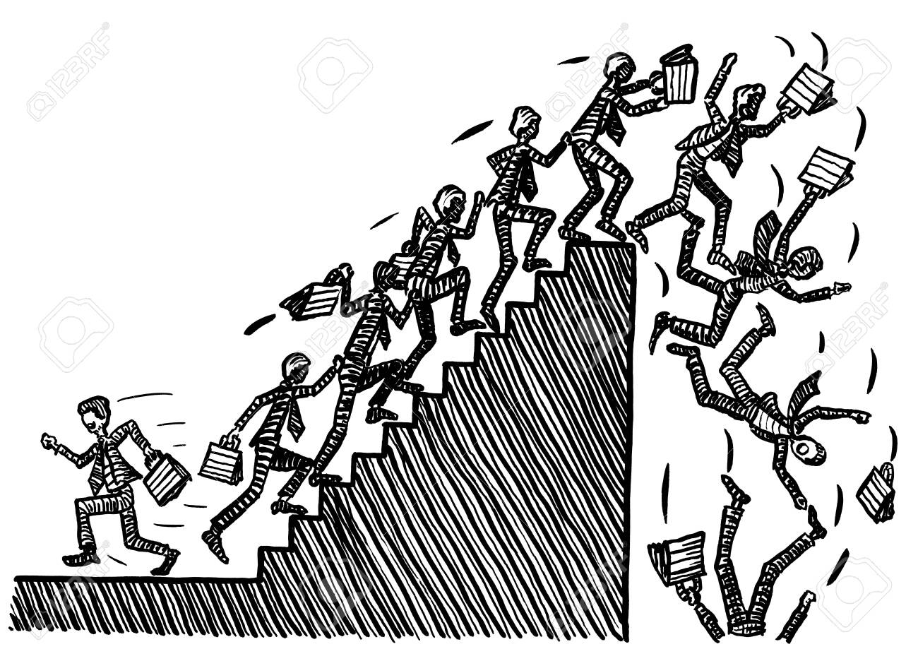 Freehand drawing of one business man striving against the stream, while all others storm the stairway into the next economic crash. Metaphor for recession, going against the tide, bucking the trend. - 136429713