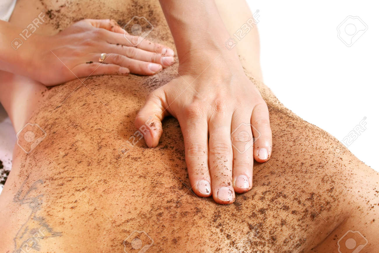 Cleaning skin massage with coffee grain ground Stock Photo - 1064671