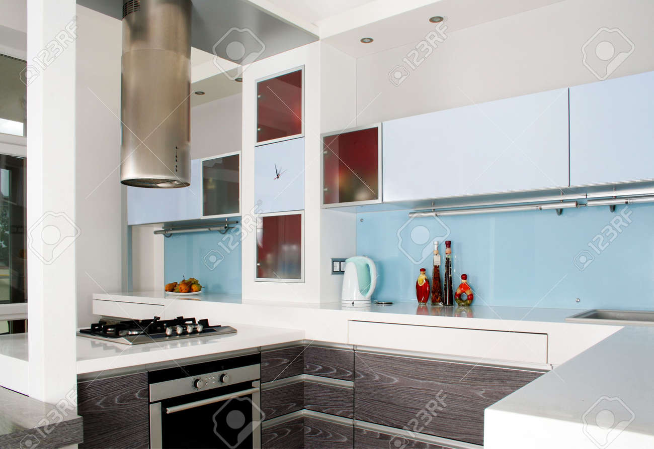 Modern White And Wood Kitchen Itnerior Shot With Studio Light Stock ...
