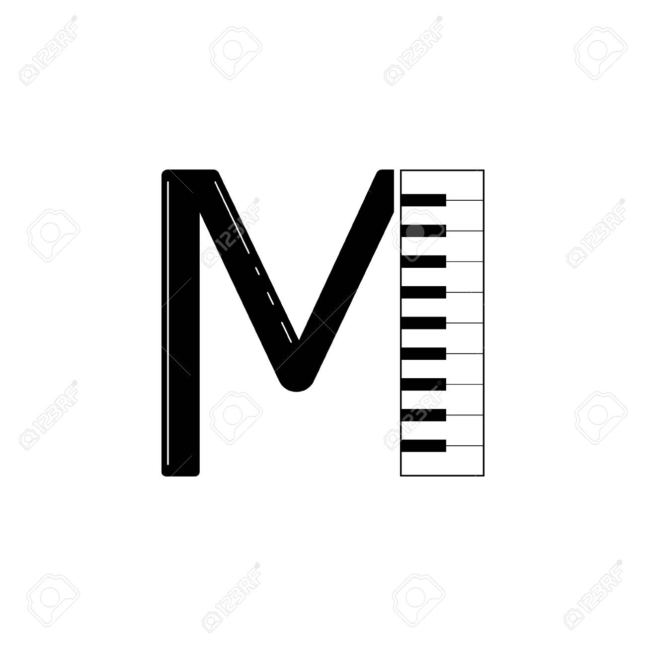 f53c4b83e3e2f Graphic design to the word music. Letter M initialization with piano  design. Stock Vector