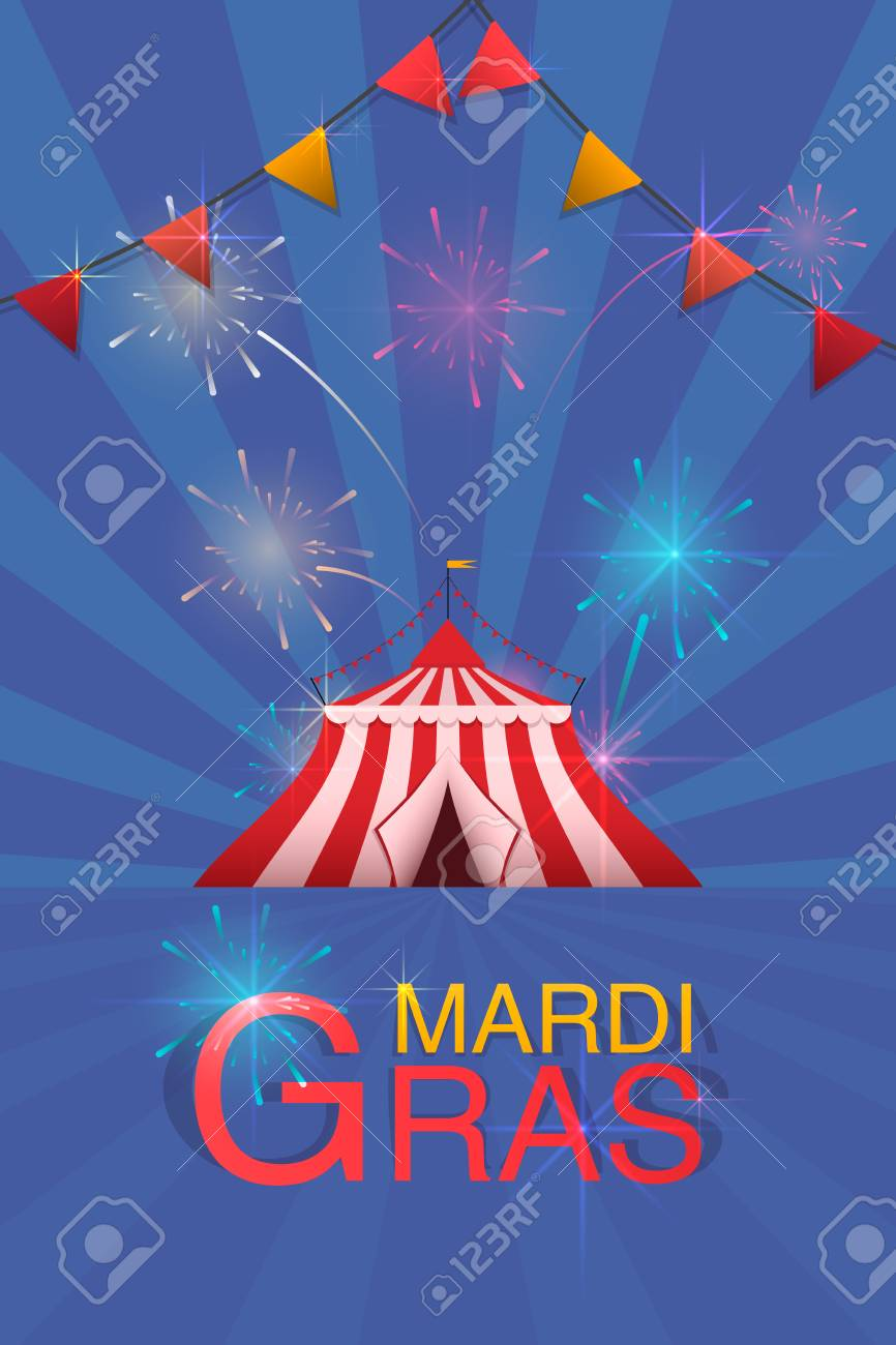 Carnival And Fun Fair Flyer Template Vector Logo With A Painted