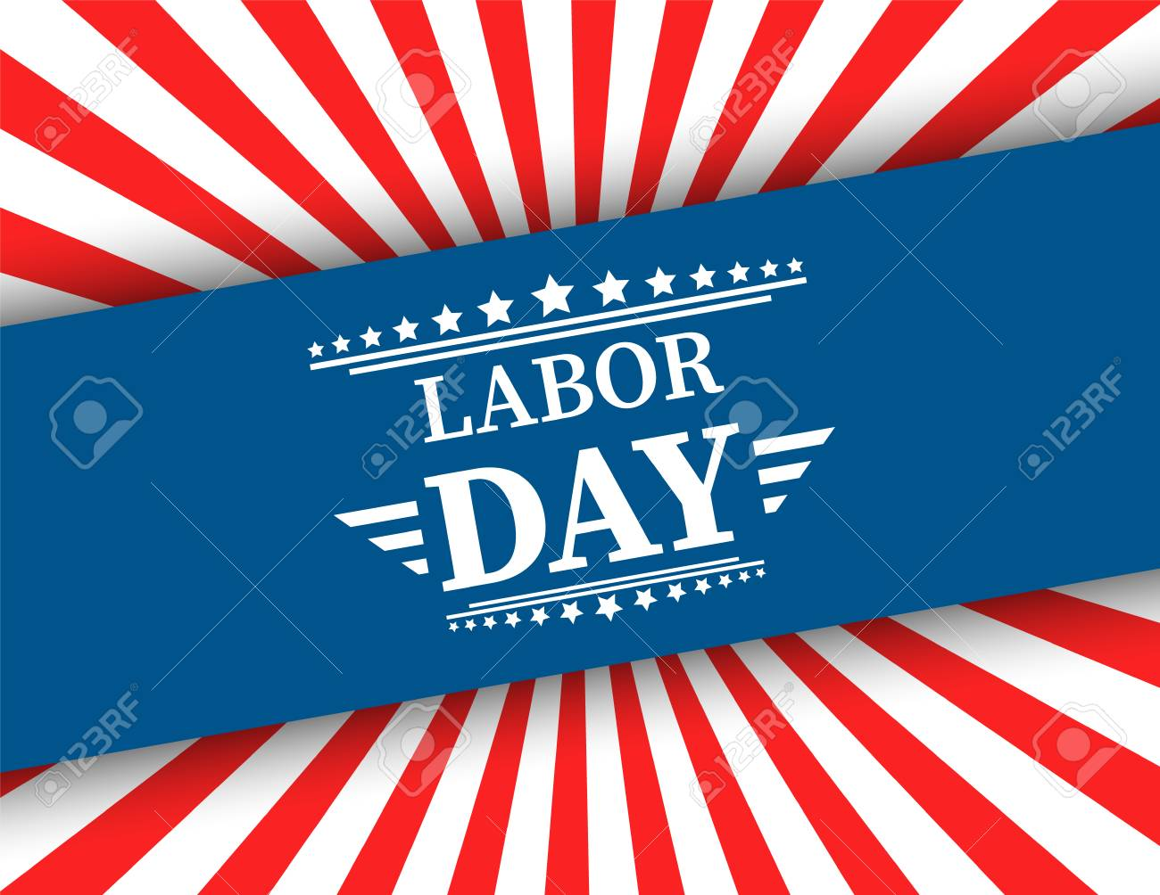 Waving American flag with typography Labor Day, September 7th, United state of America, American Labor day design. Beautiful USA flag Composition. Labor Day poster design - 106353425