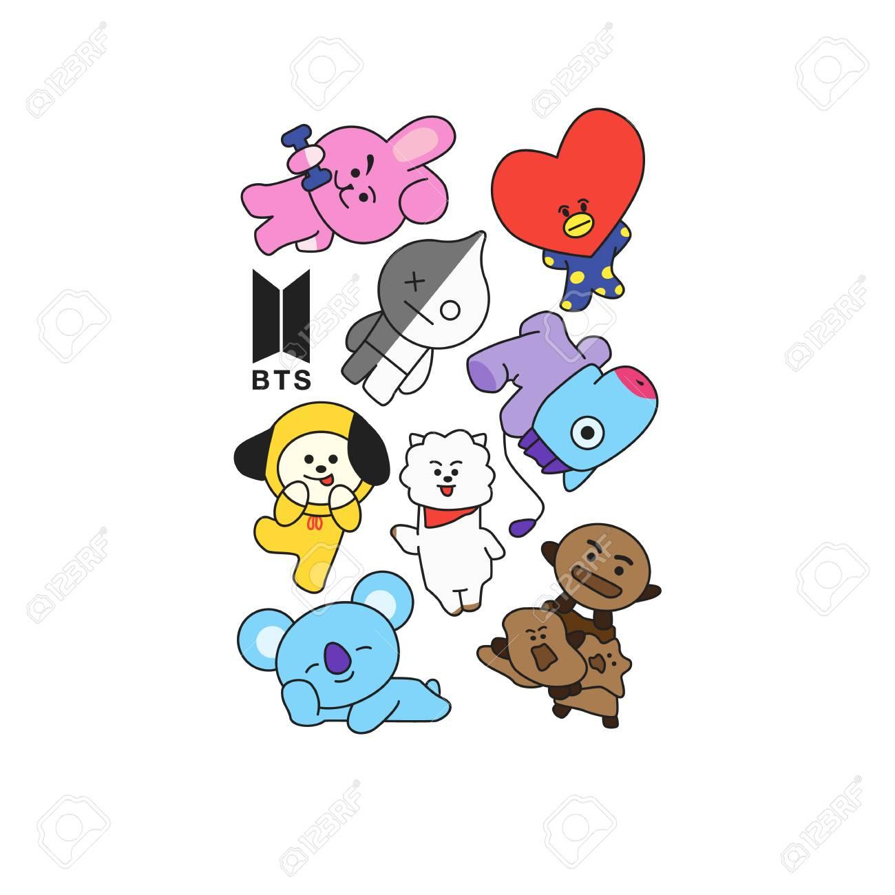BTS - South Korean boy band. Print for t-shirts. - 117995149