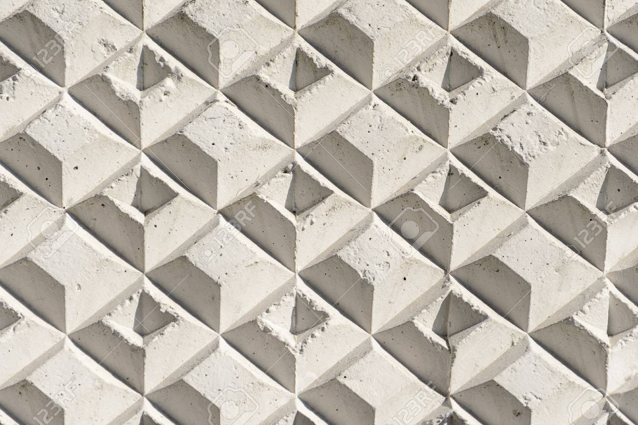 3d Wall Panel Of Concrete With Geometry Pattern Old Shabby White