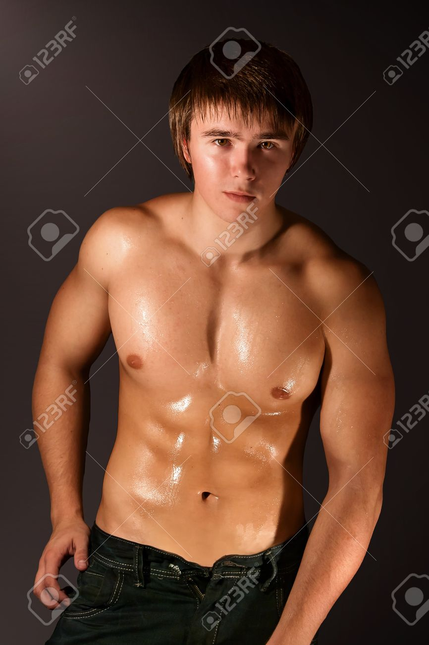 image of muscular man isolated on brown Stock Photo - 8547083