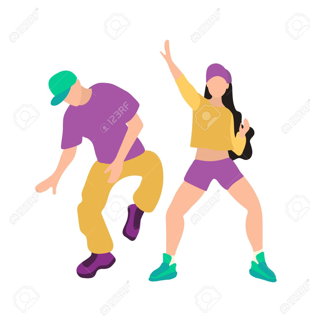Men and woman dancing hip hop. Youth dance of modern teenagers. Hip-hop dance, poster of dance school, breakdance, turnip. Young people Isolated on a white background in flat style. - 141522976