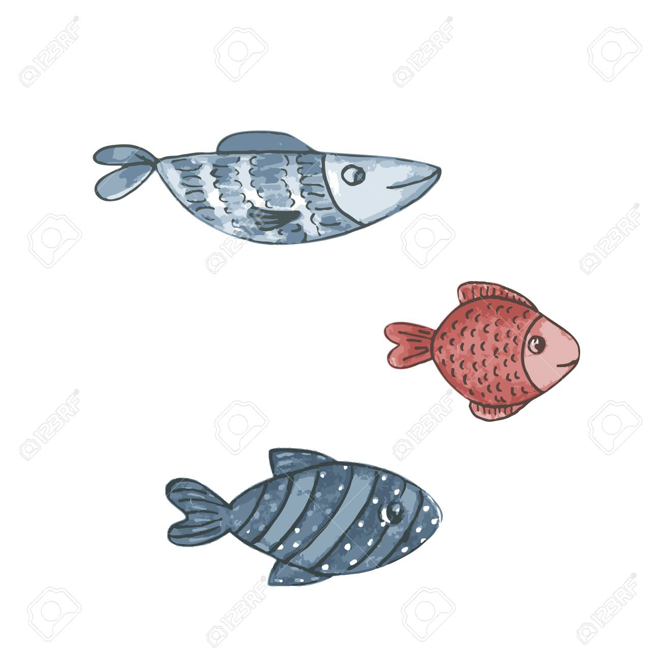 Watercolor fishes set collection of watercolor hand draw fish isolate on white background cute