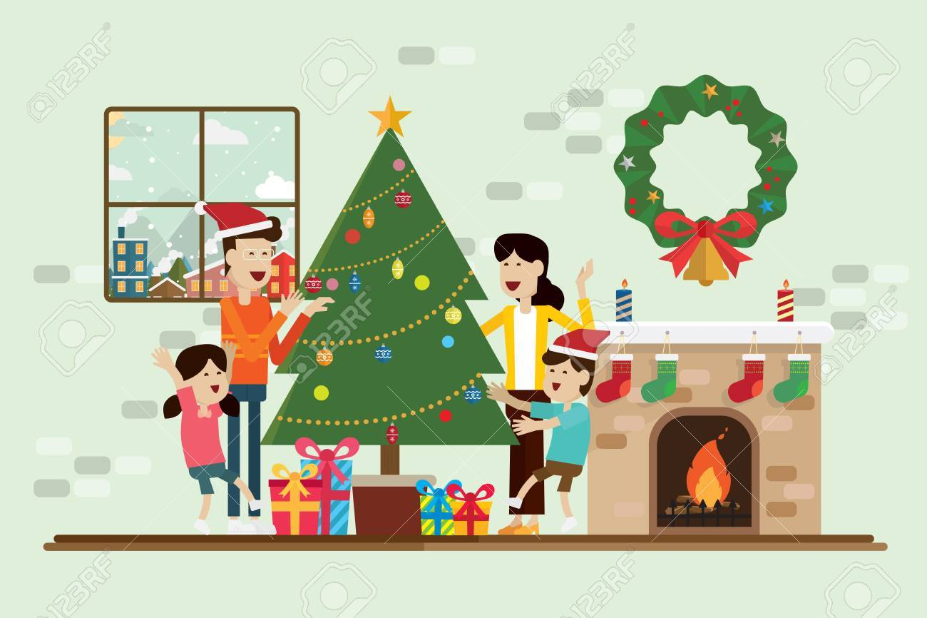 Christmas Day Clipart.Family In The Christmas Day And Decoration In Fireplace Room