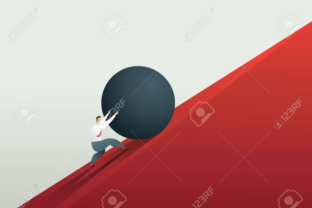 Businessman pushing boulder up to hill and hard work challenge. Concept illustration vector. - 123965890