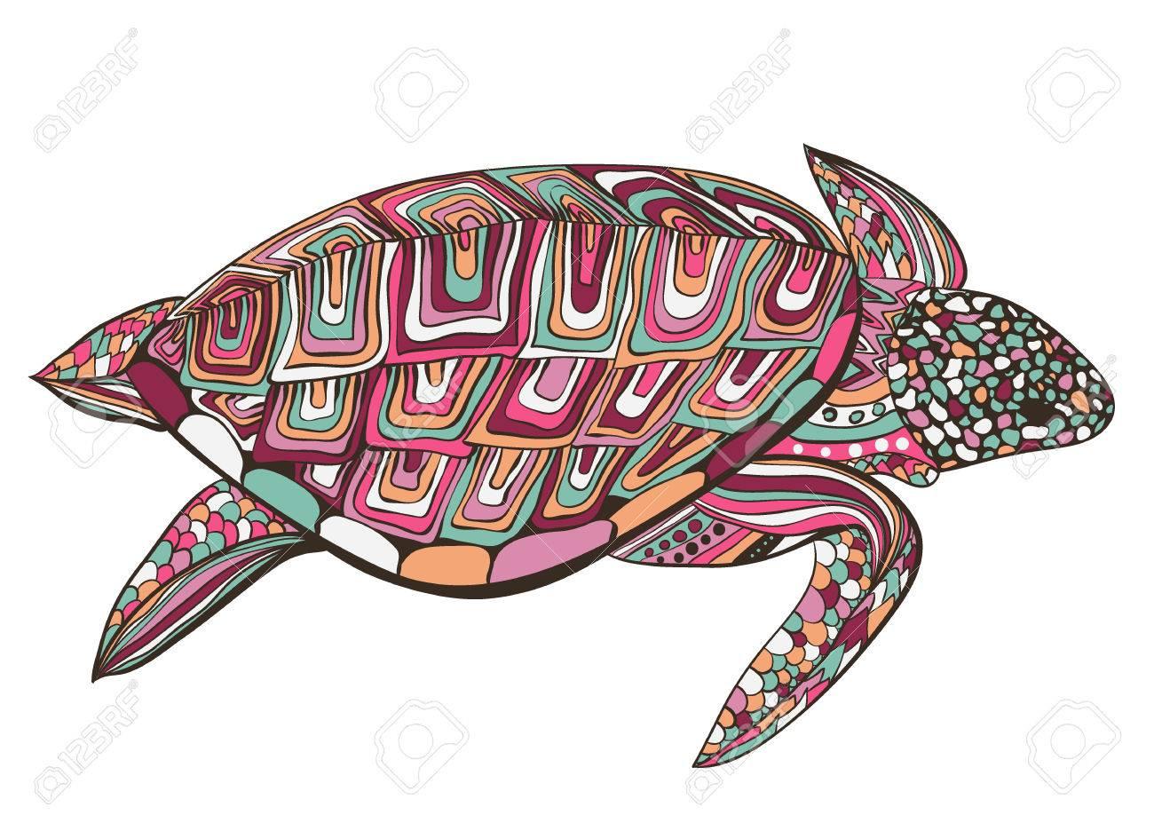 Kleurplaten Voor Volwassenen Schildpad.Schildpad In Zentangle Zenart Doodle Stijl Geisoleerd Op Een Witte Achtergrond Hand Getrokken Schets Voor Volwassen Antistress Kleurplaat Logo Of