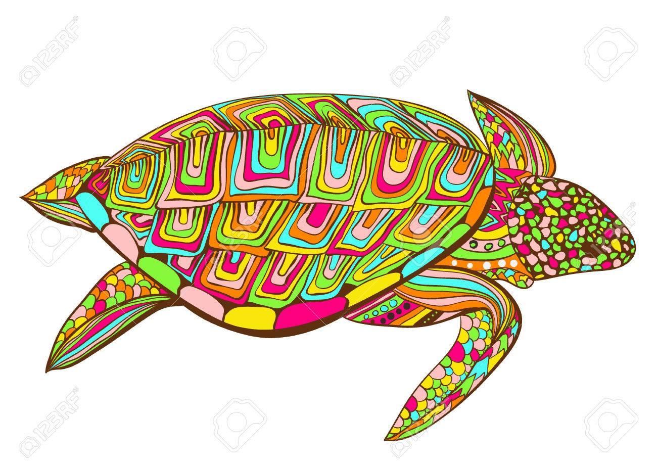 Kleurplaten Voor Volwassenen Schildpad.Schildpad In Zentangle Zenart Doodle Stijl Geisoleerd Op Een Witte