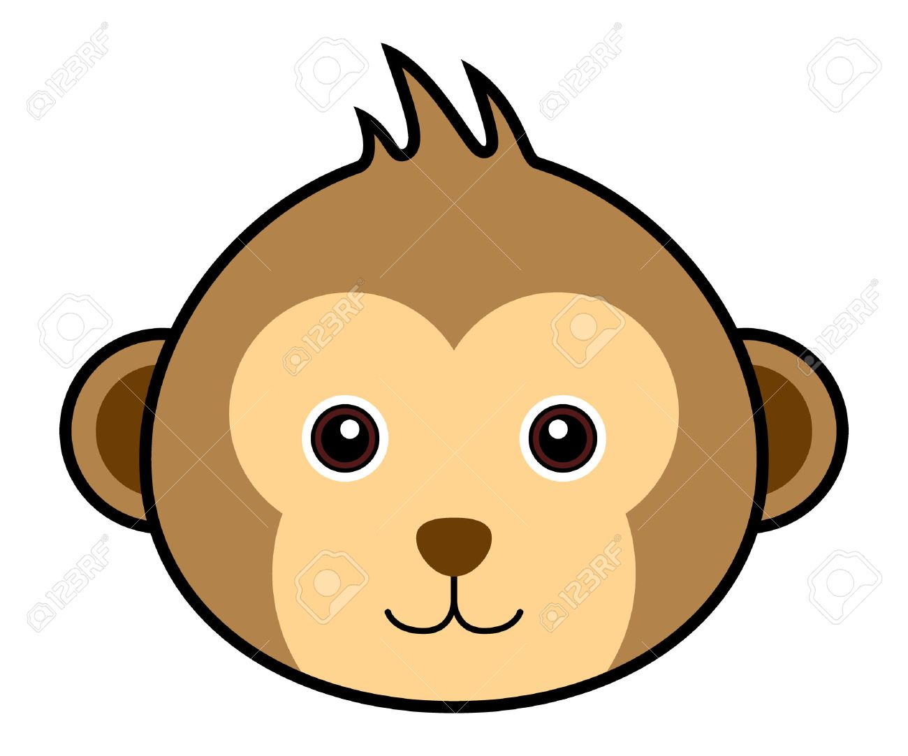 Happy Cartoon Gorilla Face Cute Monkey  monkey  cartoon