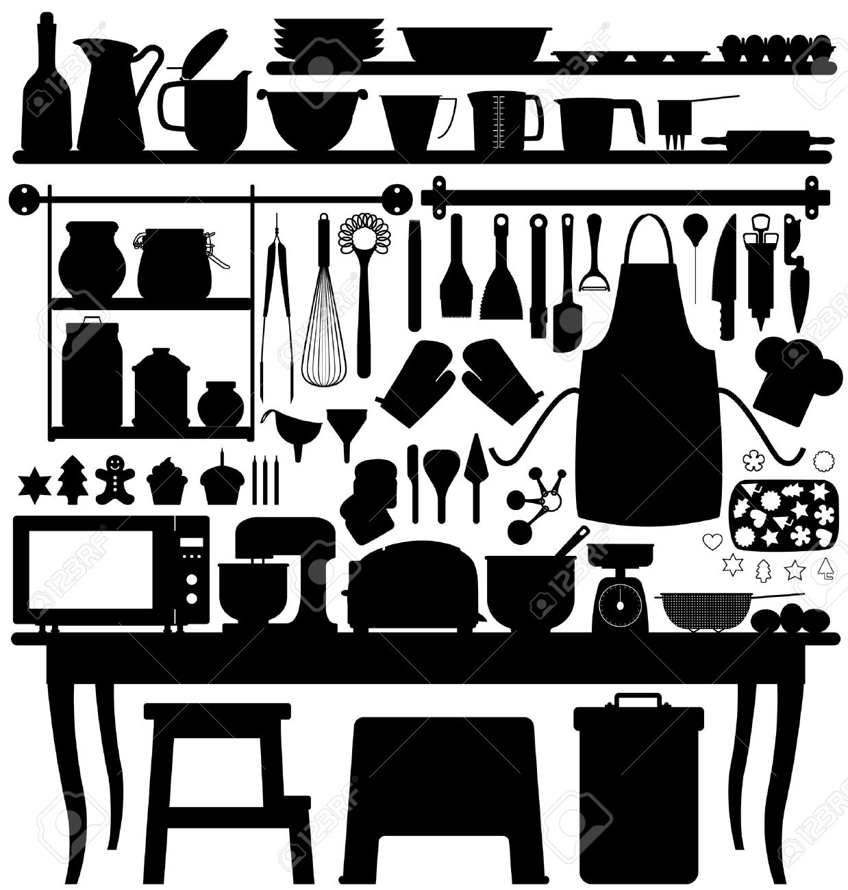 Baking Pastry Kitchen Tool Silhouette Vector Stock Vector - 7796660