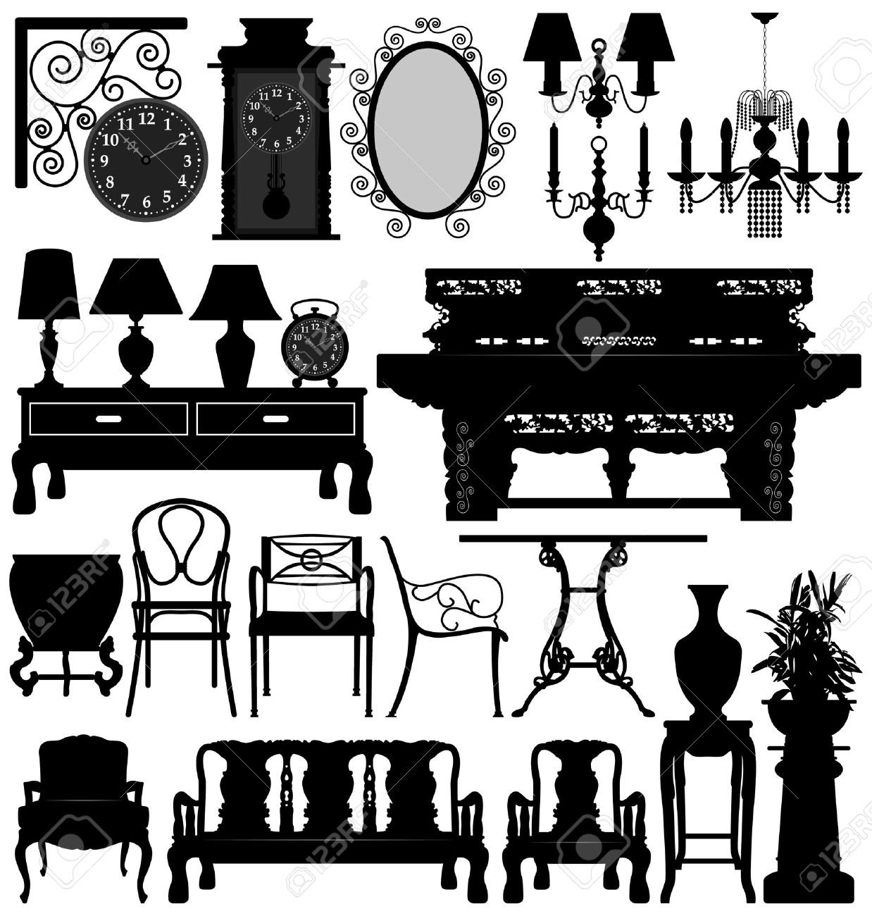 Antique chair silhouette - Antique Old Furniture Home House Vector Stock Vector 7796669