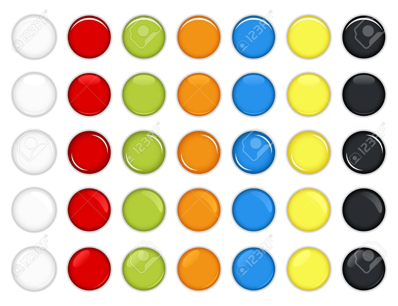 Colorful Glossy Round Buttons Vector Stock Vector - 7796695