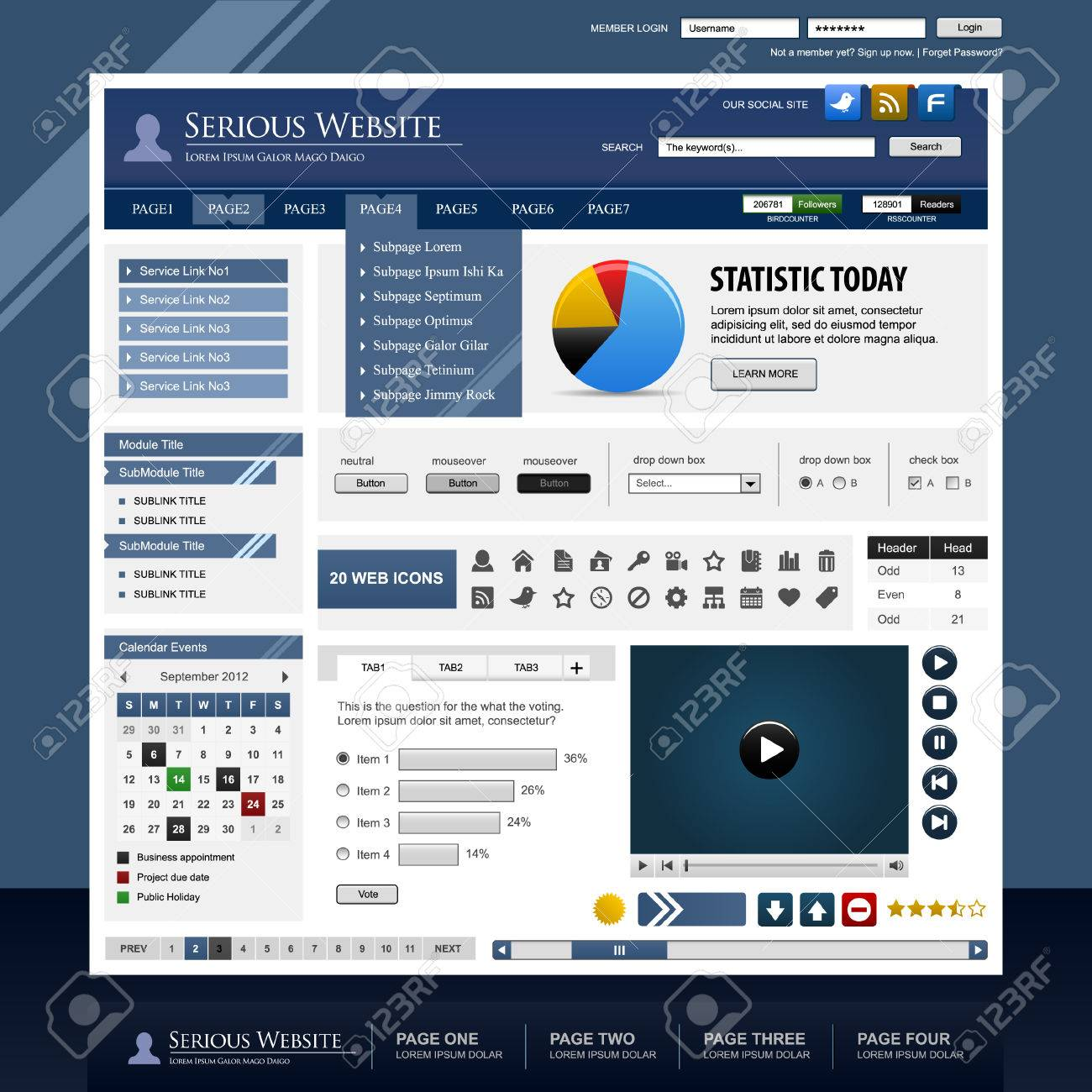 Web Design Template Element Frame Stock Vector - 8509694