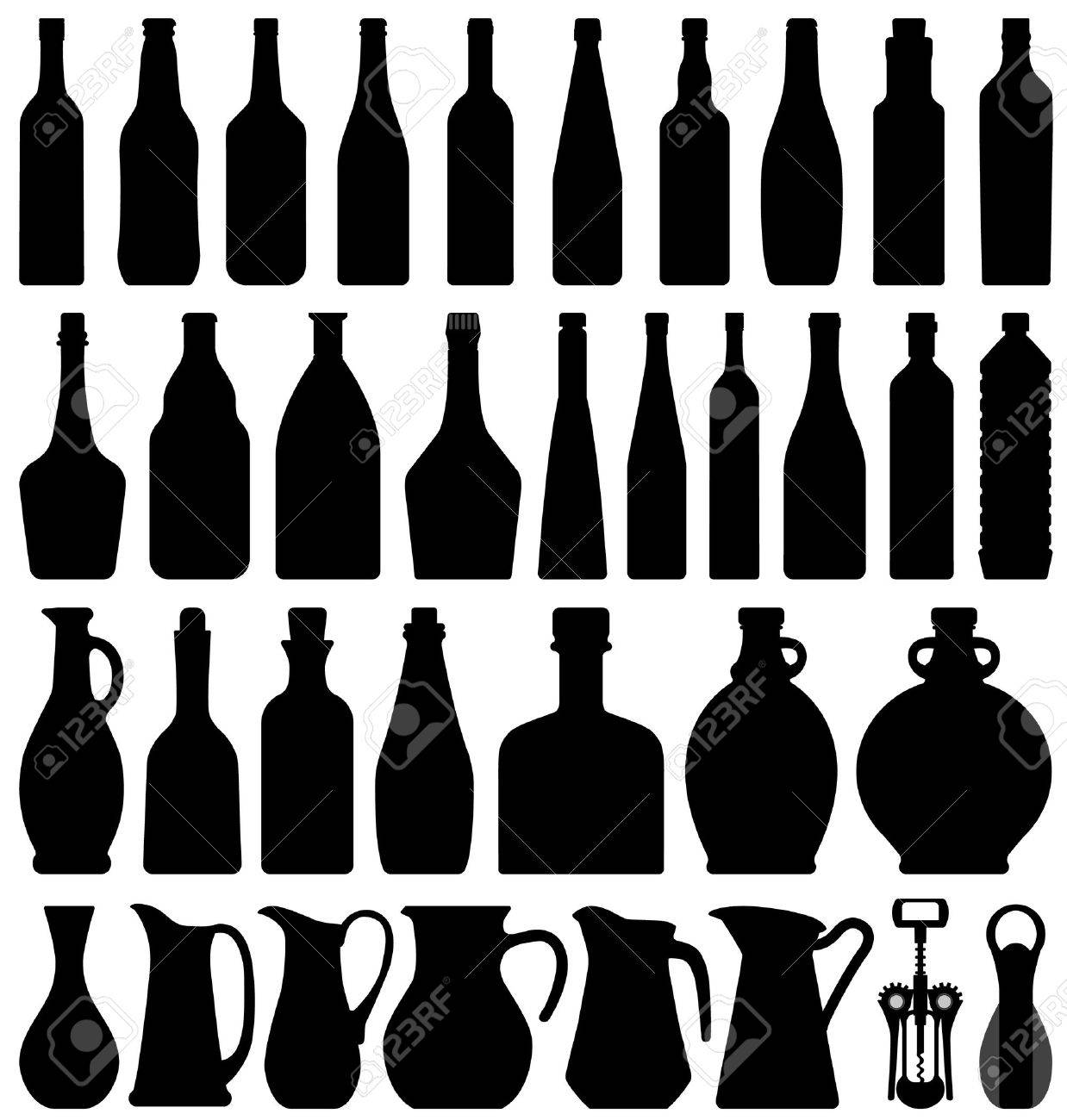 Wine Beer Bottle Silhouette Royalty Free Cliparts, Vectors, And ...