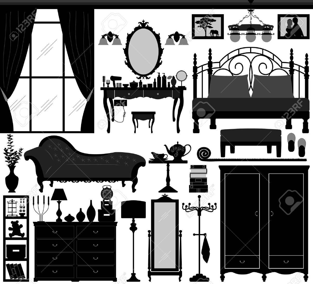 bedroom home interior design set black stock vector 8513568 - Basic Elements Of Interior Design