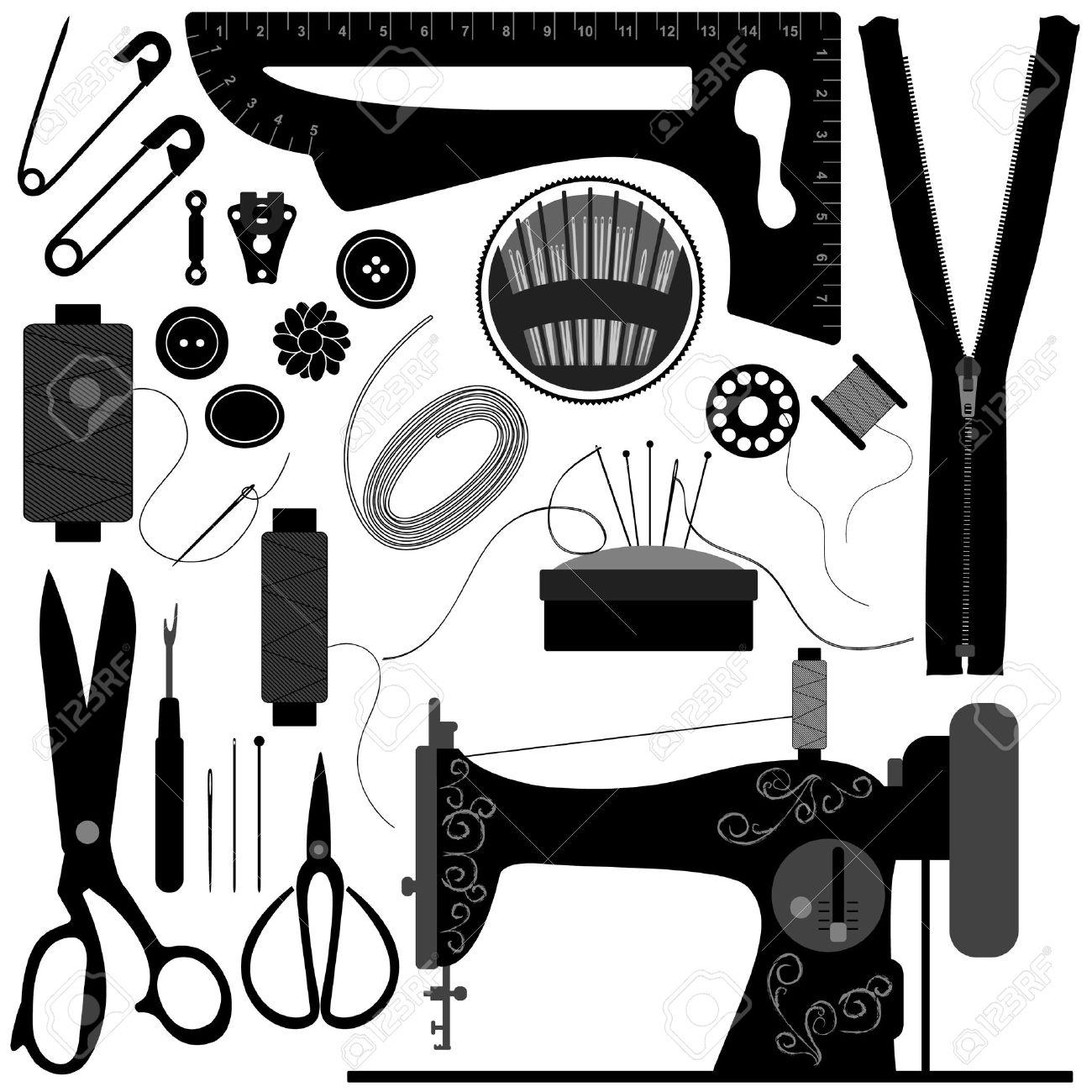 Sewing Tailor Retro Black Stock Vector - 8513562