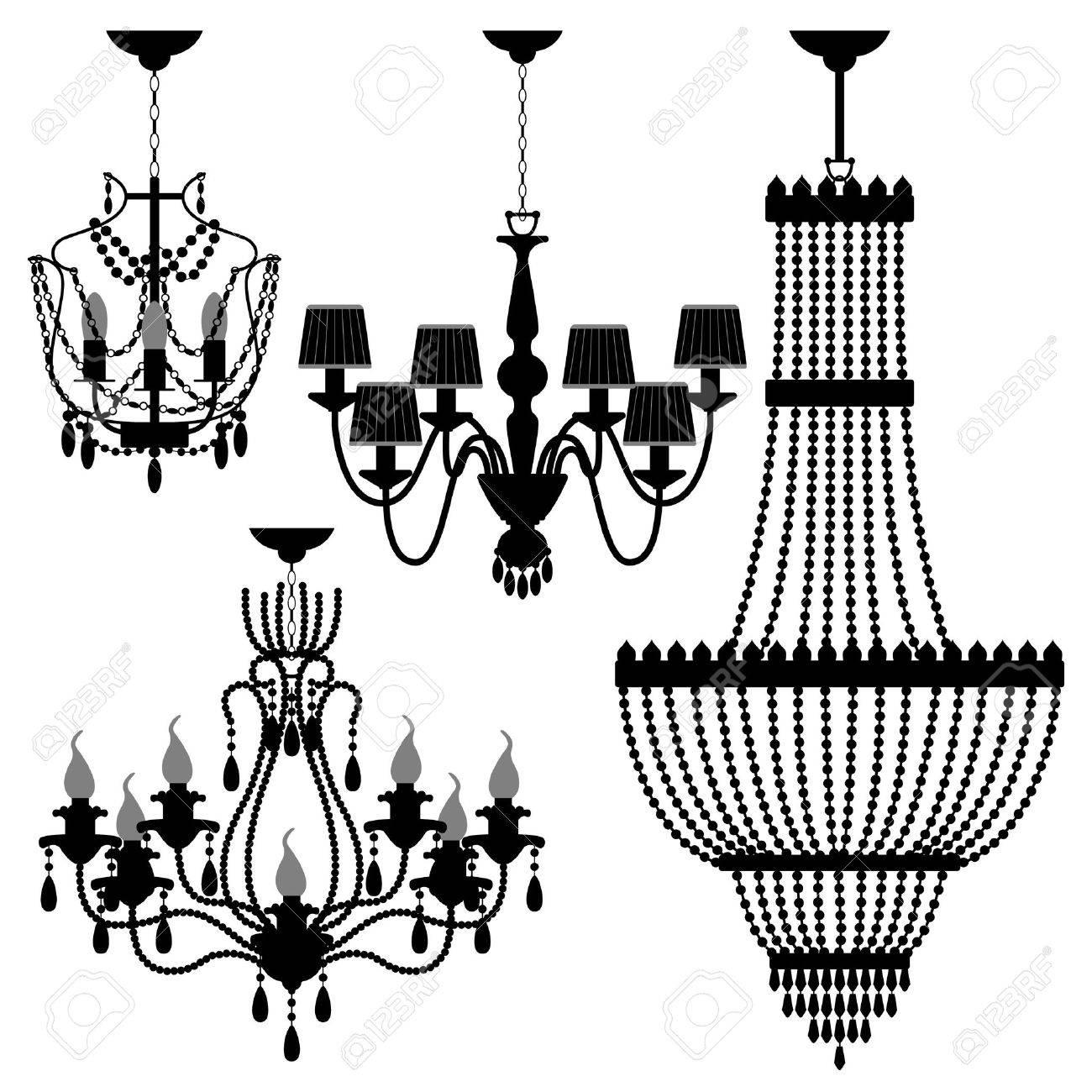 Chandelier black silhouette royalty free cliparts vectors and chandelier black silhouette stock vector 8723514 arubaitofo Gallery