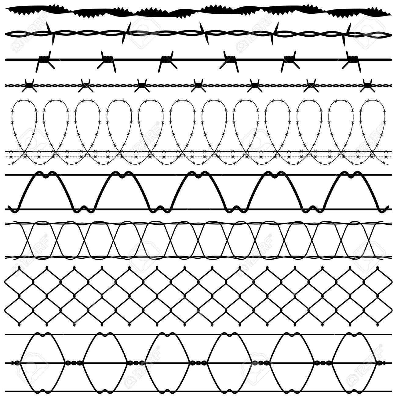 Barbwire De Alambre De Pas De Valla Ilustraciones Vectoriales Clip
