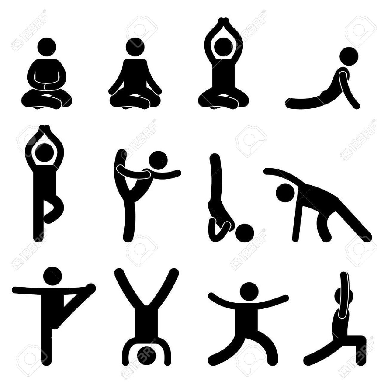 Exercice De Meditation Yoga Stretching Gens Icone Clip Art Libres De Droits Vecteurs Et Illustration Image 11102660