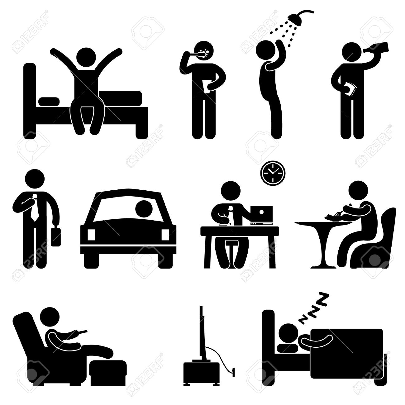 Man Daily Routine People Icon Sign Symbol Pictogram Stock Vector - 11102670