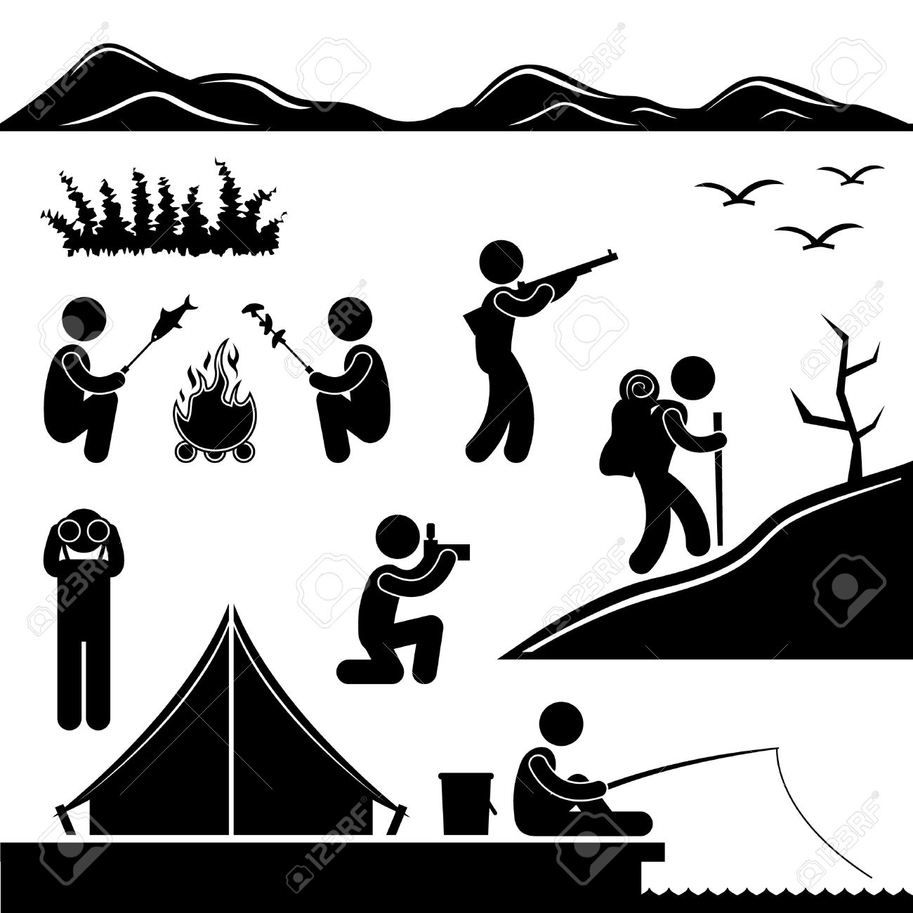 Jungle Trekking Hiking Camping Campfire Adventure Stock Vector - 11102679