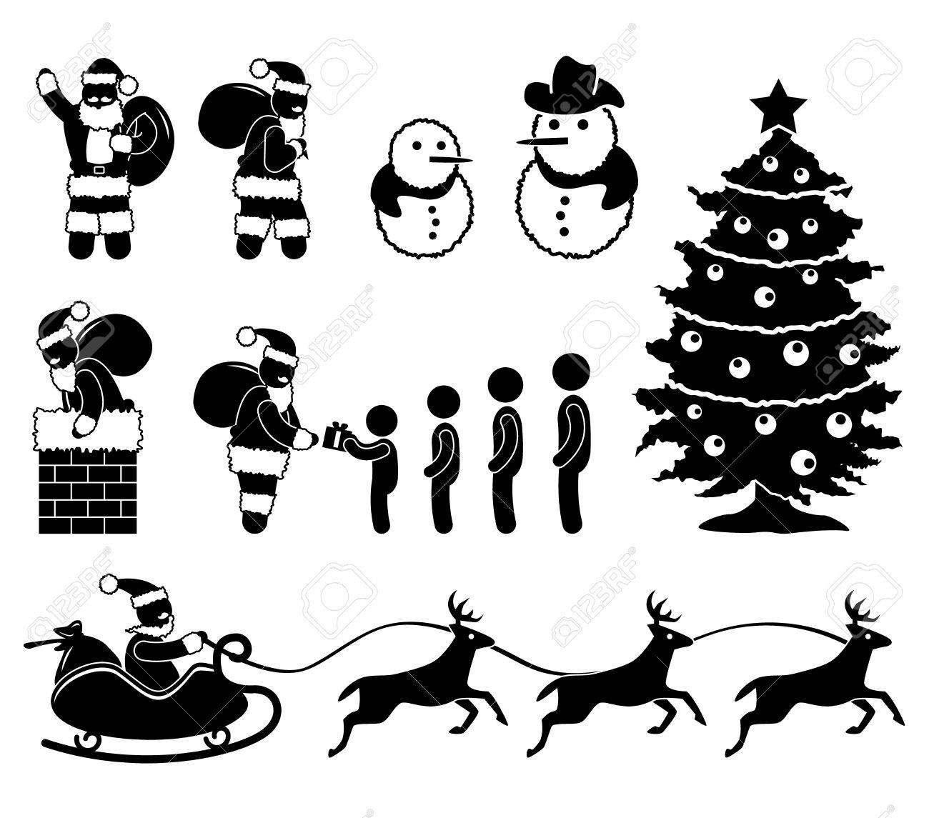 Christmas Santa Claus Snowman Winter Chimney Reindeer Stock Vector - 11102684